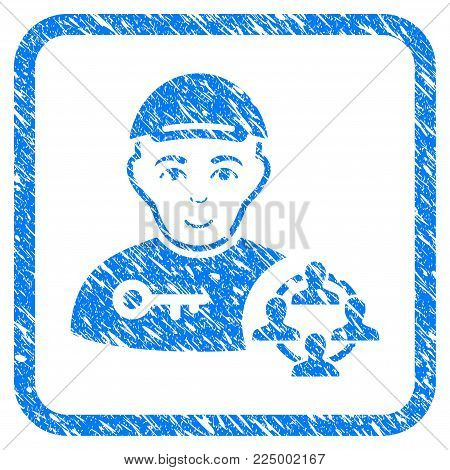 Social Engineer rubber seal watermark. Icon vector symbol with unclean design and dust texture inside rounded square. Scratched blue sticker. Boy face has gladness mood.