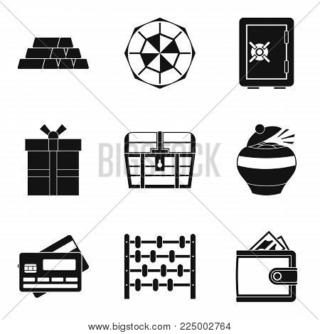 Money supply icons set. Simple set of 9 money supply vector icons for web isolated on white background