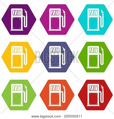 Gasoline pump icon set many color hexahedron isolated on white vector illustration