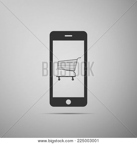 Online shopping concept. Shopping cart on screen smartphone icon isolated on grey background. Concept e-commerce, e-business, online business marketing. Flat design. Vector Illustration