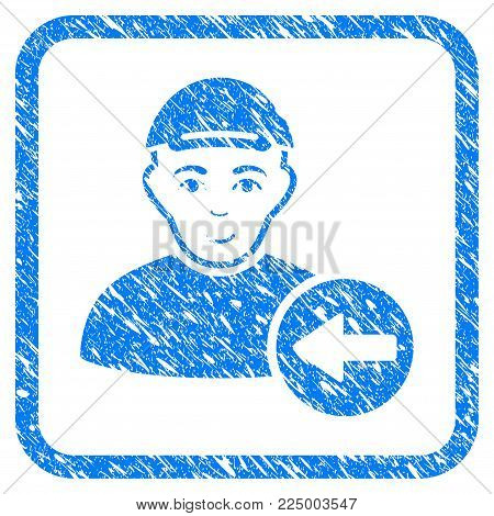 Previous User rubber stamp watermark. Icon vector symbol with distress design and dust texture in rounded squared frame. Scratched blue emblem. Dude face has joyful mood.