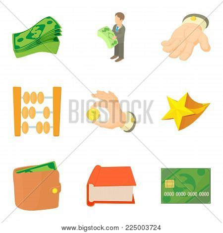 Material wealth icons set. Cartoon set of 9 material wealth vector icons for web isolated on white background