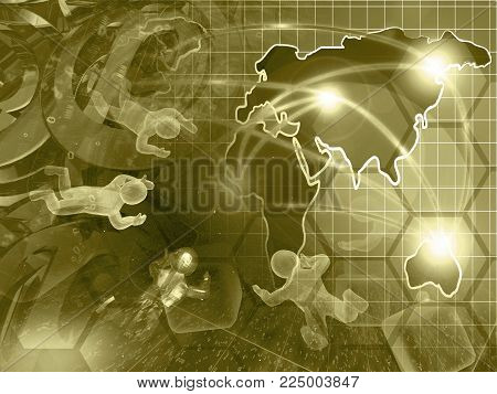 Map and color mans - abstract computer background in sepia.