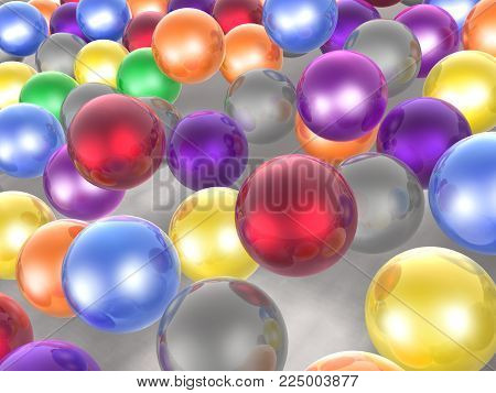 Color spheres as abstract background, 3D illustration.