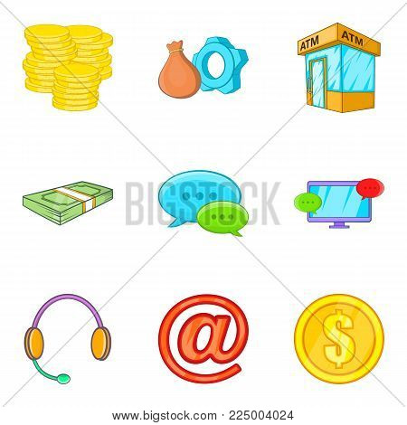 Cashflow icons set. Cartoon set of 9 cashflow vector icons for web isolated on white background