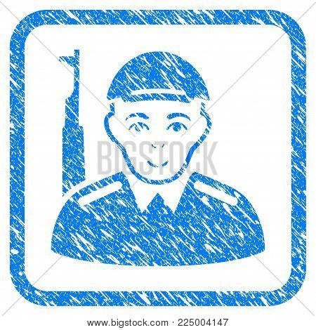 Soldier rubber stamp watermark. Icon vector symbol with grungy design and dirty texture inside rounded square. Scratched blue sticker. Male face has joyful feeling. a person from soldier in a cap.