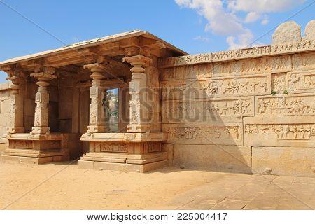 Entrance to the Hazara Rama Temple in Hampi, Karnataka, India. Unesco World Heritage Site. The famous tourist destination from GOA.