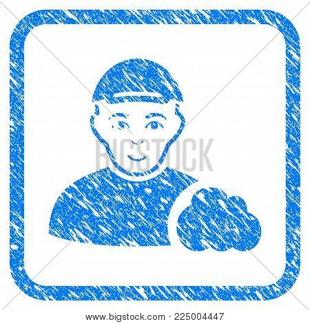 User Cloud rubber seal stamp watermark. Icon vector symbol with scratched design and dust texture inside rounded frame. Scratched blue emblem. Dude face has happy sentiment.