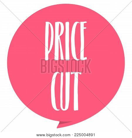Price Cut tag. Red color, isolated on white. Vector illustration