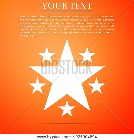 Star icon isolated on orange background. Favorite, Best Rating, Award symbol. Flat design. Vector Illustration