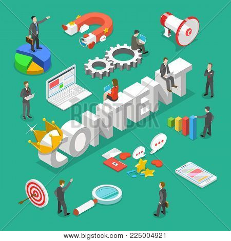 Content is king flat isometric vector concept. 3d word CONTENT with crown on it surrounded by people and corresponding attributes.