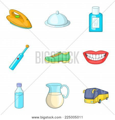 Good morning icons set. Cartoon set of 9 good morning vector icons for web isolated on white background