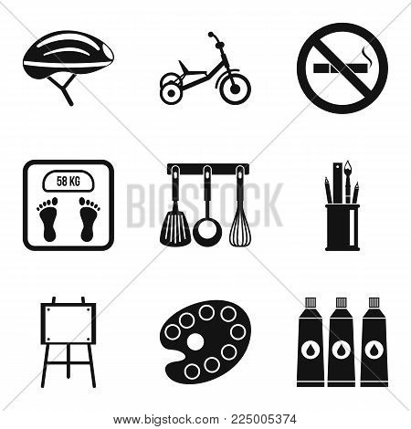 Wee icons set. Simple set of 9 wee vector icons for web isolated on white background