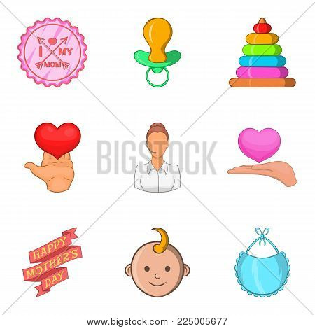 Mother and child icons set. Cartoon set of 9 mother and child vector icons for web isolated on white background