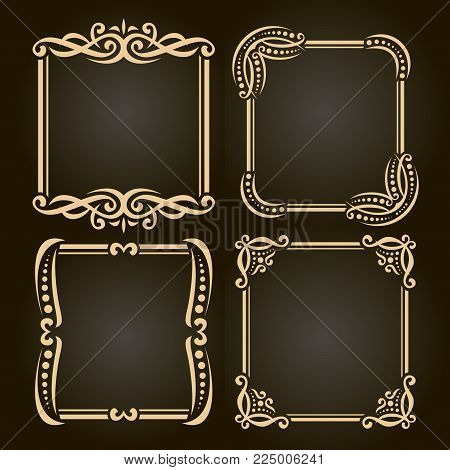 Vector set decorative vector photo free trial bigstock vector set of decorative golden frames on dark simple decoration with flourishes for wedding invitation junglespirit Image collections