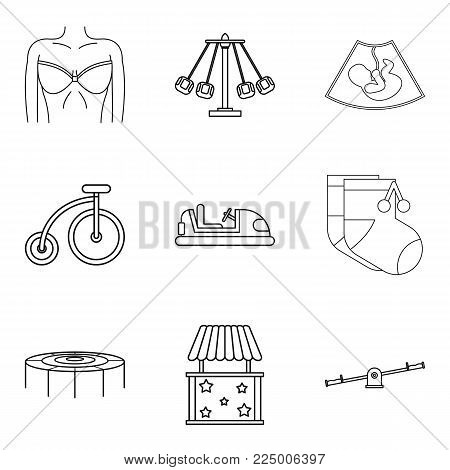 Parenthood icons set. Outline set of 9 parenthood vector icons for web isolated on white background