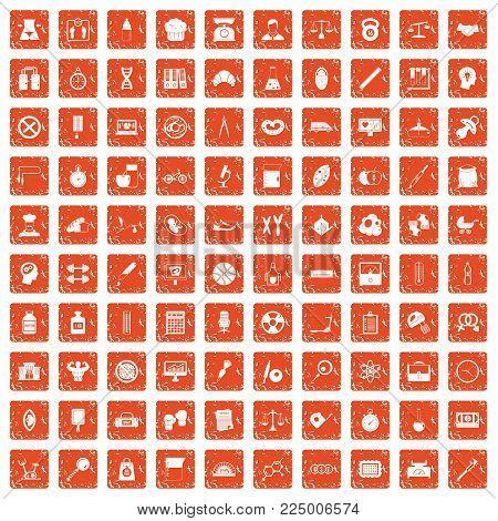 100 libra icons set in grunge style orange color isolated on white background vector illustration