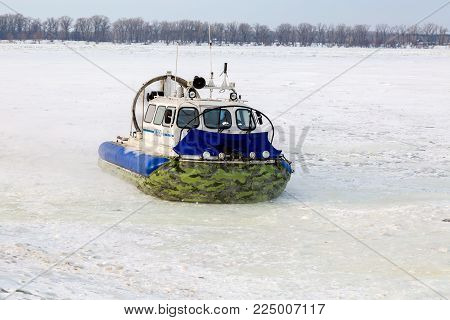 Samara, Russia - February 03, 2018: Hovercraft transporter on the ice of river in winter day