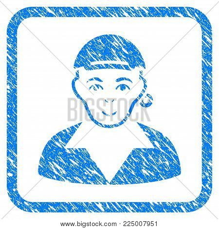Gay rubber stamp watermark. Icon vector symbol with scratched design and dust texture in rounded square. Scratched blue sign. Person face has positive sentiment. a boy from gay wearing a cap.