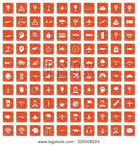 100 aviation icons set in grunge style orange color isolated on white background vector illustration