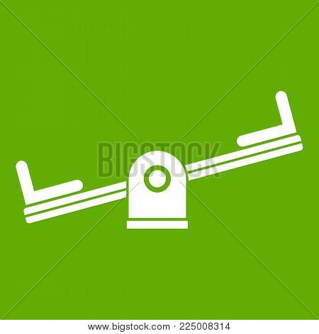 Seesaw icon white isolated on green background. Vector illustration