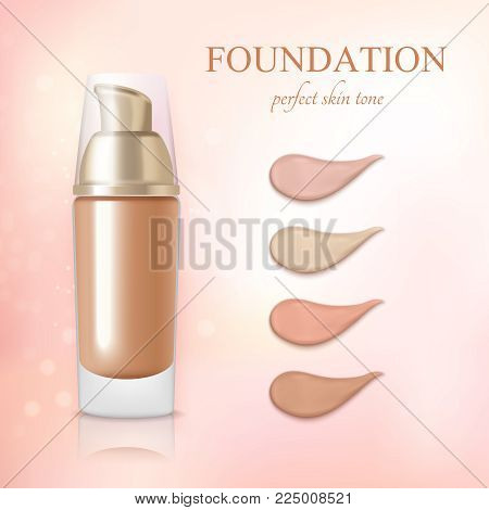 Cosmetic foundation concealer cream color samples realistic commercial advertisement background poster vector illustration