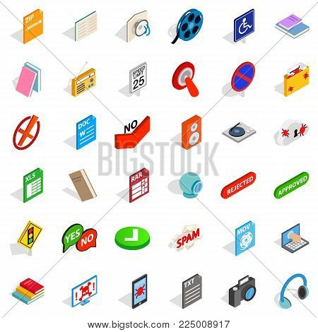 Data transfer icons set. Isometric set of 36 data transfer vector icons for web isolated on white background