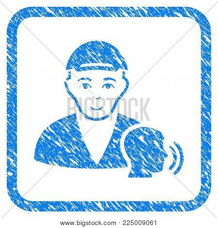 Psychotherapist Talking rubber seal imitation. Icon vector symbol with textured design and dust texture in rounded frame. Scratched blue emblem. Male face has happy sentiment.