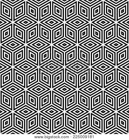 Seamless diamonds and hexagons pattern. 3D optical illusion. Geometric texture. Vector art.