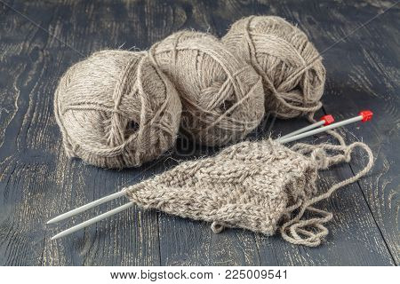 Natural Merino Wool For Knitting On Table