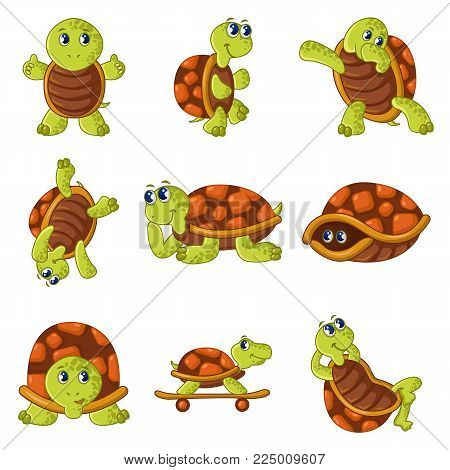 Happy turtle icons set. Cartoon illustration of 9 happy turtle vector icons for web