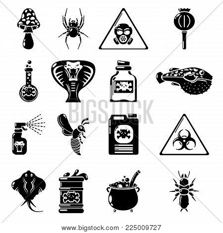Poison danger toxic icons set. Simple illustration of 16 poison danger toxic vector icons for web