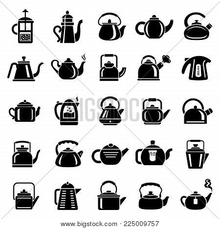 Kettle teapot icons set. Simple illustration of 25 kettle teapot vector icons for web