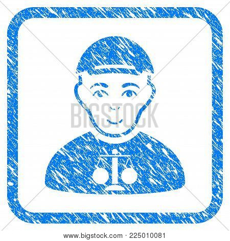 Judge rubber stamp imitation. Icon vector symbol with distress design and dust texture in rounded squared frame. Scratched blue stamp imitation. Boy face has joyful feeling.