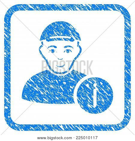 User Info rubber seal stamp watermark. Icon vector symbol with scratched design and dirty texture in rounded squared frame. Scratched blue stamp imitation. Guy face has happiness feeling.
