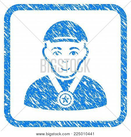 Champion rubber stamp watermark. Icon vector symbol with grunge design and corrosion texture inside rounded rectangle. Scratched blue emblem. Human face has enjoy emotion. poster