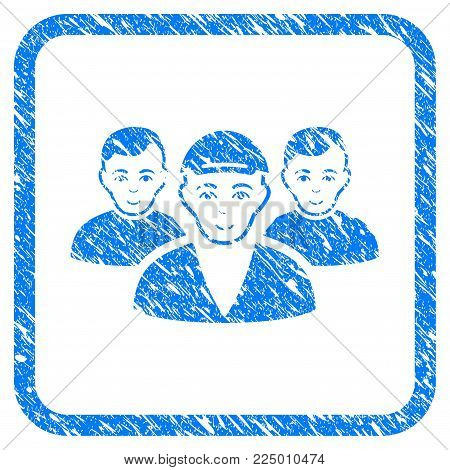 Boy Friends rubber stamp imitation. Icon vector symbol with textured design and dirty texture in rounded frame. Scratched blue sign. Boy face has cheerful mood. a guy from boy friends in a cap.