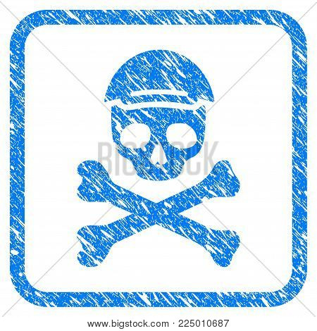 Mortal Skull rubber stamp watermark. Icon vector symbol with scratched design and corrosion texture in rounded square. Scratched blue sign. Guy face has glad sentiment.