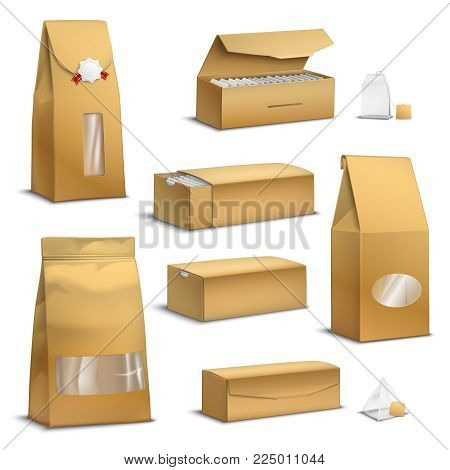 Brown sack kraft paper tea bags and loose leaves packs boxes packages realistic set isolated vector illustration