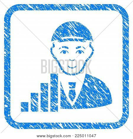 Stock Trader rubber stamp imitation. Icon vector symbol with distress design and unclean texture in rounded square frame. Scratched blue stamp imitation. Human face has positive emotions.