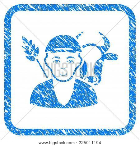 Farmer rubber stamp watermark. Icon vector symbol with textured design and unclean texture in rounded rectangle. Scratched blue emblem. Person face has enjoy expression. a guy from farmer in a cap.