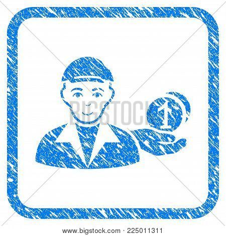 Payer rubber seal watermark. Icon vector symbol with grungy design and unclean texture inside rounded rectangle. Scratched blue sign. Human face has cheerful mood. a guy from payer with a cap.