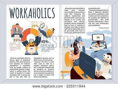 Workaholic magazine layout with office work symbols infographics flat vector illustration