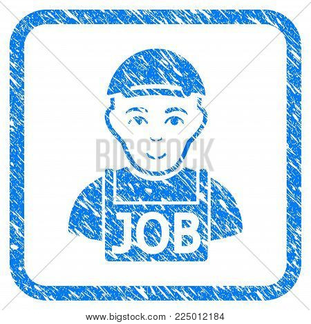 Jobless rubber seal stamp imitation. Icon vector symbol with unclean design and corrosion texture inside rounded frame. Scratched blue emblem. Dude face has happiness sentiment.