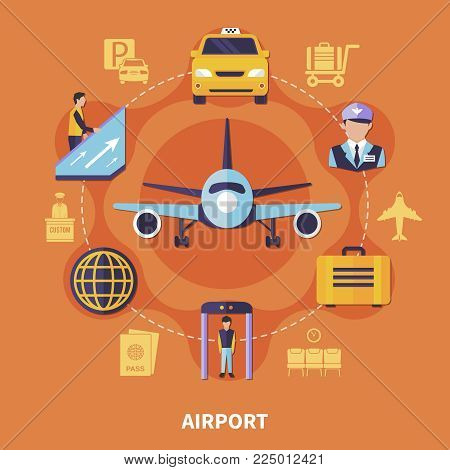 Airport concept with plane luggage taxi steward on orange background flat vector illustration