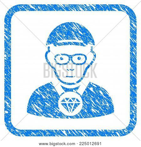 Jeweler rubber stamp watermark. Icon vector symbol with unclean design and unclean texture inside rounded frame. Scratched blue emblem. Human face has glad emotions. a man from jeweler wearing a cap.