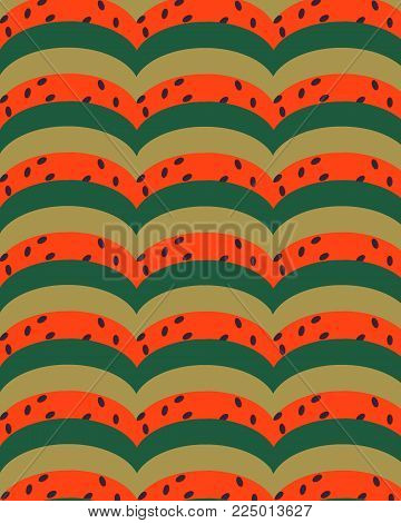geometric semicircles green red yellow with dark impregnations.