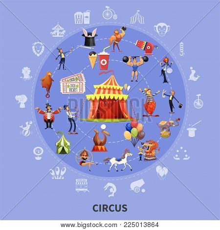 Circus colored cartoon round composition with icon set combined in big circle vector illustration