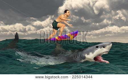 Computer generated 3D illustration with a sportsman on a surfboard and great white shark