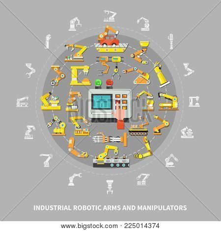 Flat robotic arm industrial composition with industrial robotic arms and manipulators descriptions vector illustration